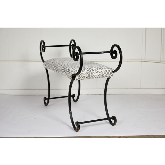 Hollywood Regency Scrolling Iron Bench in Jim Thompson Fabric For Sale - Image 4 of 12
