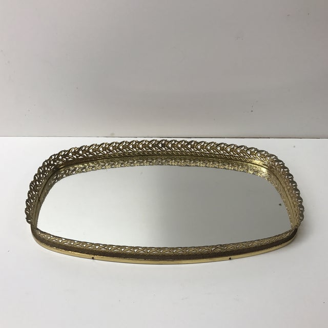Vintage French Filigree Medium Oval Vanity Tray With Mirror For Sale In Miami - Image 6 of 6