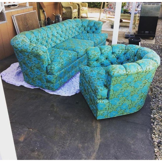Wood Vintage Floral Chesterfield Arm Chair For Sale - Image 7 of 9