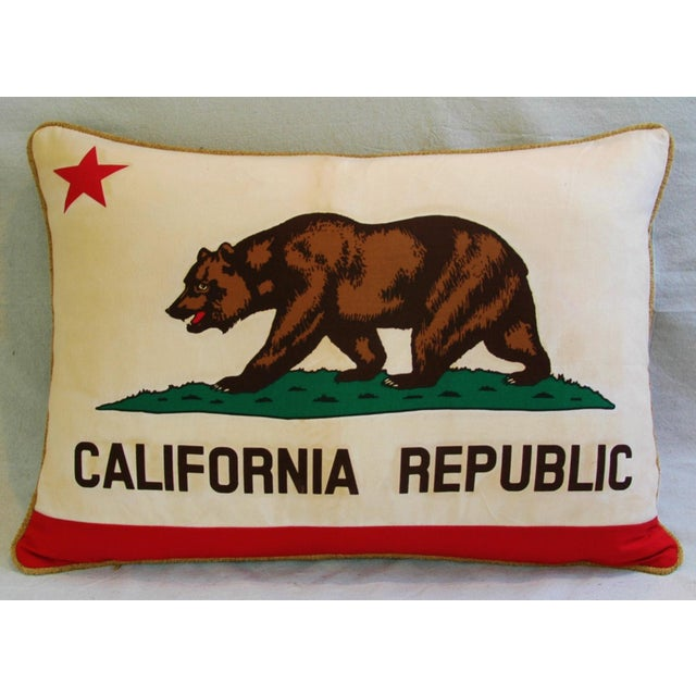 "Fabric Jumbo California Republic Bear Flag Feather/Down Pillow 31"" X 22"" For Sale - Image 7 of 10"