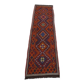 Traditional Uzbek Suzani Kilim Runner - 2′6″ × 9′