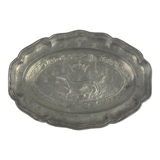 French Pewter Plate With Dog and Crown For Sale