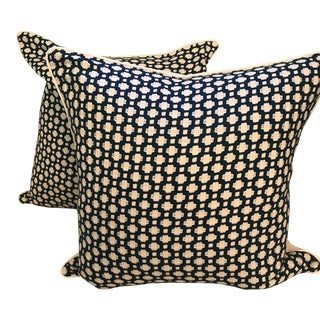 "23"" Schumacher Betwixt Indigo Pillows - A Pair For Sale"