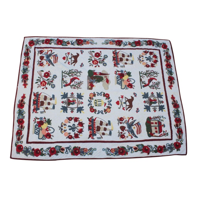 20th Century Hand Made Repro Applique Quilt - Image 1 of 8