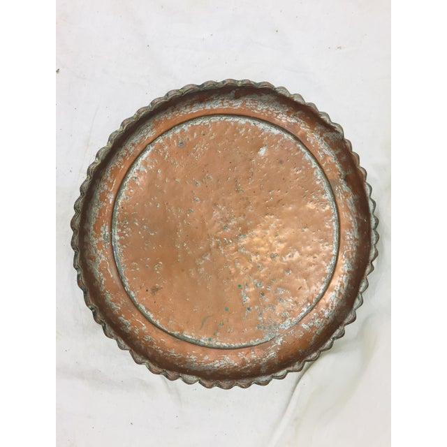 Copper Antique Turkish Pounded Copper Platter For Sale - Image 8 of 8