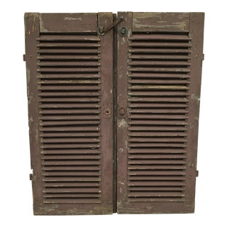 Antique French Painted Shutters - A Pair For Sale
