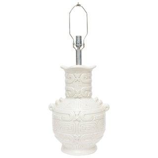 Italian Textural Aztec Inspired White Crackled Monumental Glazed Ceramic Lamp For Sale