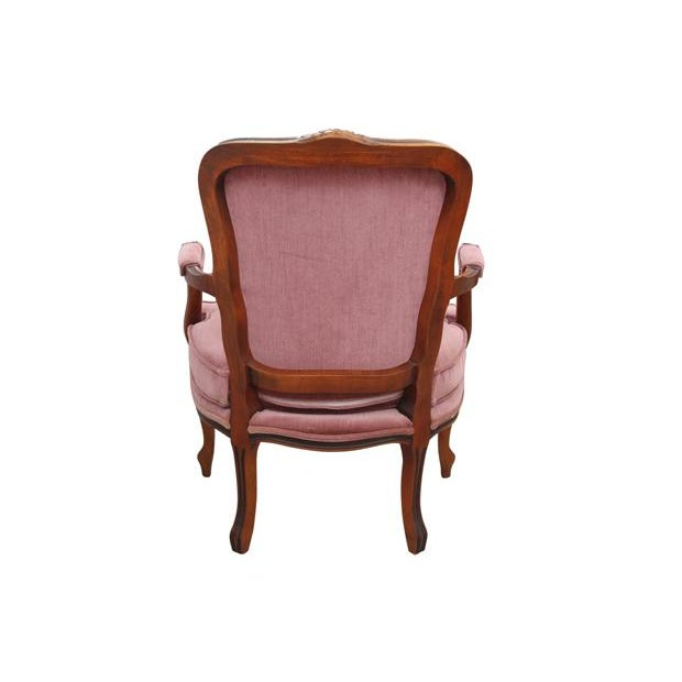 Pink Louis XV Style Dusty Rose Armchairs - A Pair For Sale - Image 8 of 8