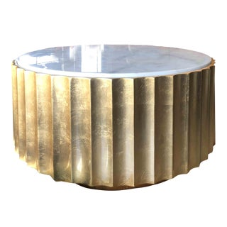Contemporary Gold Leaf Scalloped Round Coffee Table With Marble Effect Top by Worlds Away For Sale