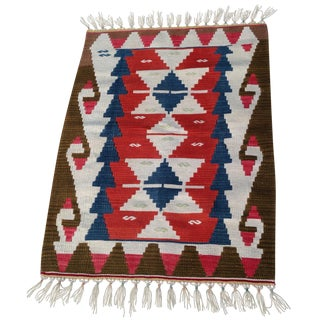 "Small Anatolian Woven Kilim Rug-32""x45""-Doormat Kilim-Chair Throw-Geometric Design-Small Accent Rug-Authentic-Boho Chic Decor-Mid Century Modern Style For Sale"