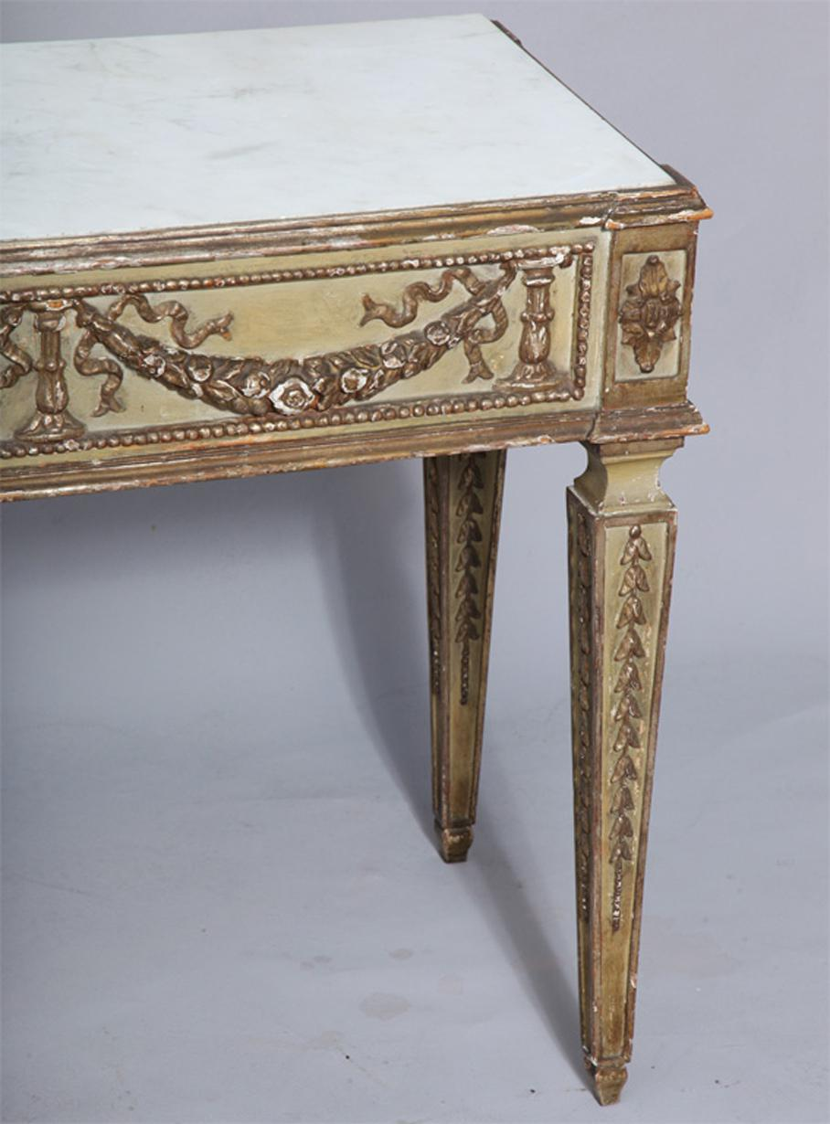 Louis XVI Antique Italian Marble Top Console Table For Sale   Image 3 Of 9