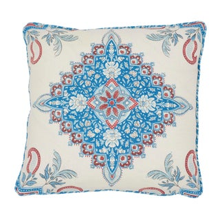 Contemporary Schumacher X Mark D. Sikes Montecito Medallion Pillow in Red For Sale