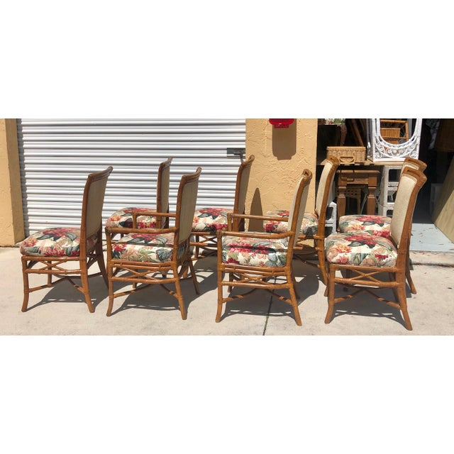 Brown McGuire or Palecek Bamboo Leather Wrapped Dining Chairs- Set of 8 For Sale - Image 8 of 12