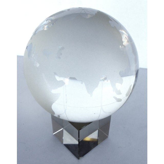 Etched Crystal Globe on Stand - Image 3 of 8