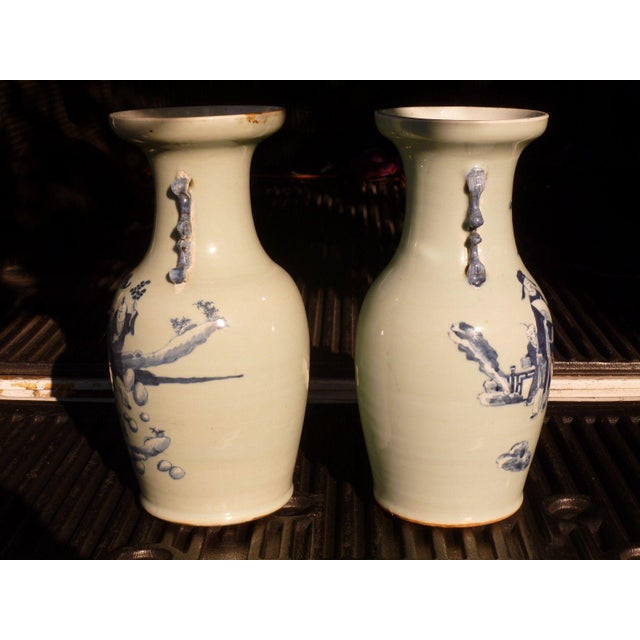 Blue 19th Century Qing Chinese Blue & White on Celadon Ground Vases - a Pair For Sale - Image 8 of 13