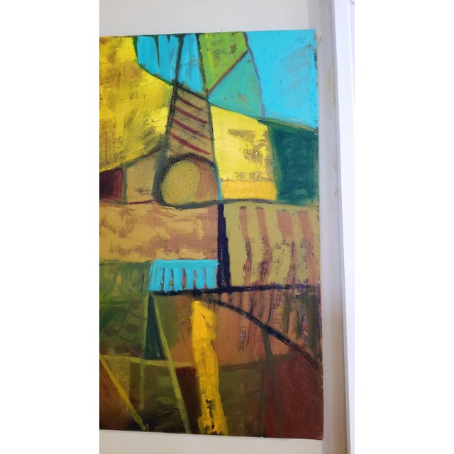 Abstract Mid-Century Modern Abstract Teal & Orange Painting For Sale - Image 3 of 7
