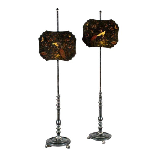 One Pair of Lacquered Pole Fire Screens For Sale