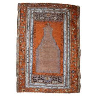1940s Hand Made Antique Turkish Anatolian Prayer Rug - 3′3″ × 4′7″ For Sale