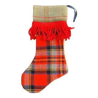 Vintage Scottish Mixed Plaids Christmas Stocking For Sale