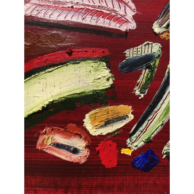 """2020s """"Cherries Jubilee"""" Contemporary Abstract Oil Stick and Acrylic Painting For Sale - Image 5 of 5"""