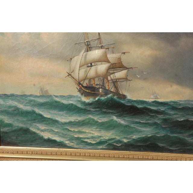 Late 19th Century 19th Century Signed American Oil Painting of a Ship at Sea For Sale - Image 5 of 10