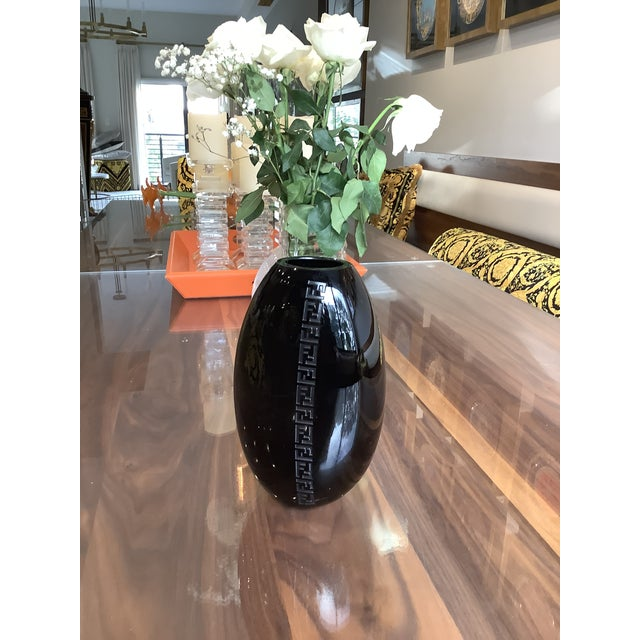 Fendi Case Murano Signed Logo Arched Glass Black Vase For Sale - Image 9 of 12