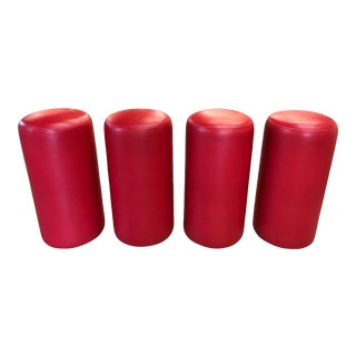 1980s Post Modern Red Cylinder Stools - Set of 4