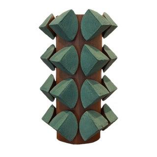Contemporary Blue Ash Short Vase For Sale
