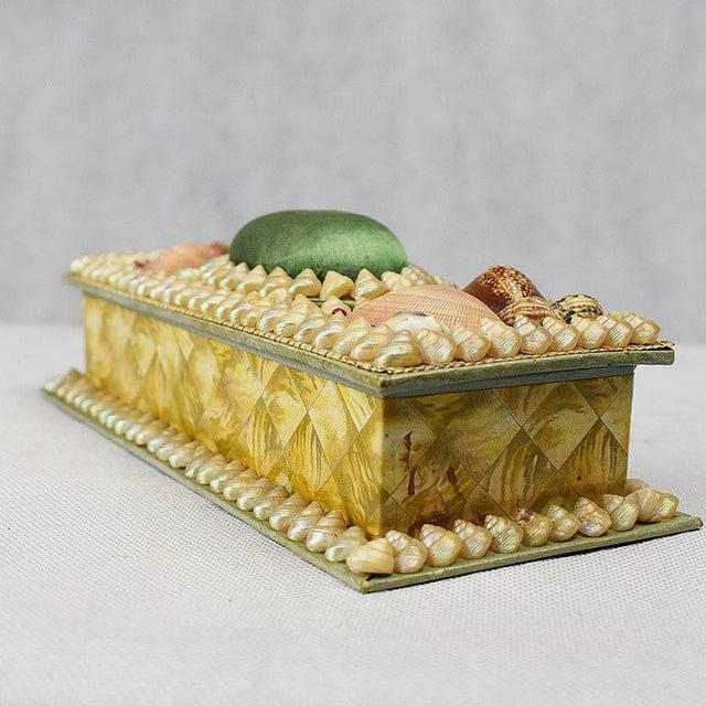 Folk Art Shell Encrusted Rectangular Keepsake Box With Green Silk Lid For Sale - Image 3 of 7