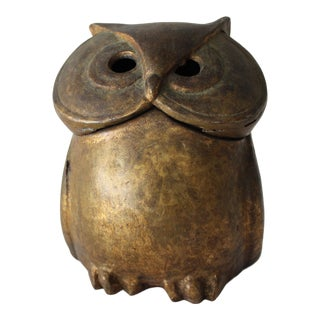 Japanese Mid Century Cast Iron Owl Container For Sale