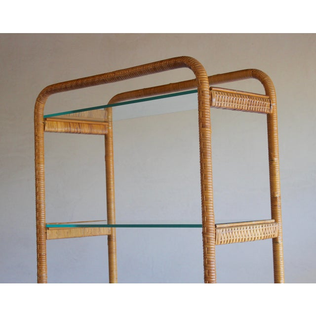 1970s 1970s Vintage Milo Baughman Style Italian Rattan Wrapped Cane Bookcase Etagere Wall Unit For Sale - Image 5 of 13
