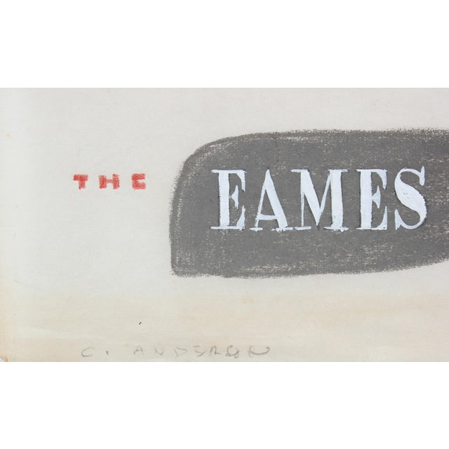 This mid 20th century pastel and colored pencil on paper illustration of an Eames chair is by Bay Area painter,...