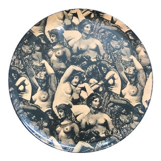Vintage Art Deco Chinoiserie Greek Roman Woman Nude Lacquered Tray For Sale