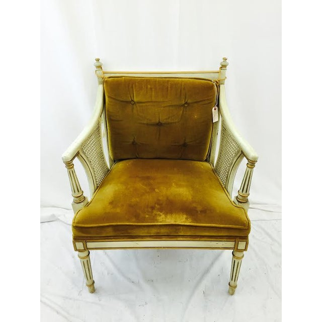 French-Style Gold Velvet & Cane Armchair - Image 3 of 11