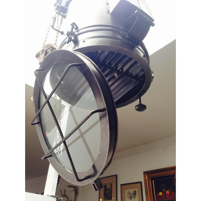 Large Industrial Hanging Pendant Light Chandelier For Sale In Los Angeles - Image 6 of 11