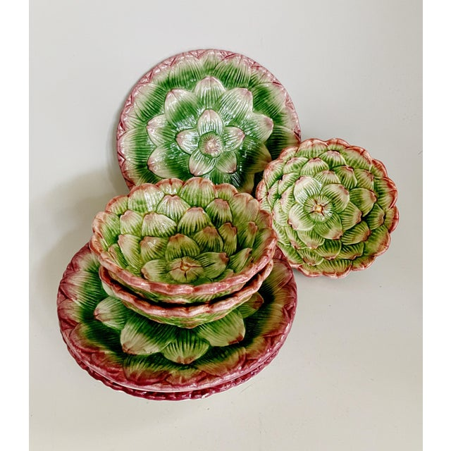 Fitz and Floyd Artichoke Ceramic Serving Bowls and Plates Set - 6 Pieces For Sale - Image 13 of 13