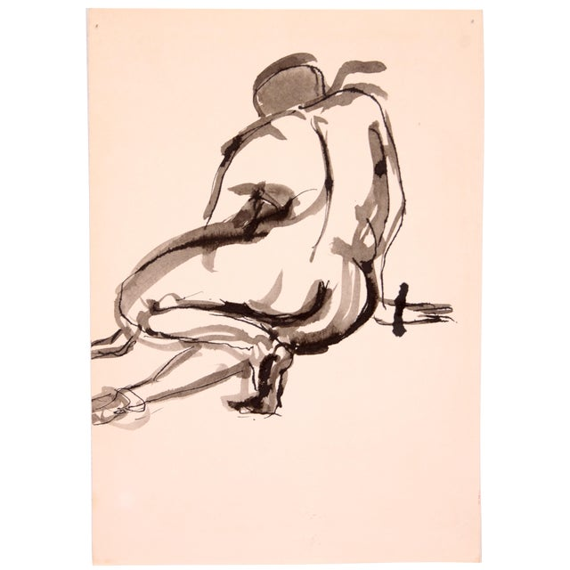 Drury Pifer 'Crouched' Figure Study in Ink - Image 1 of 3