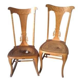 19th C. Wicker Dining & Rocking Chairs - A Pair
