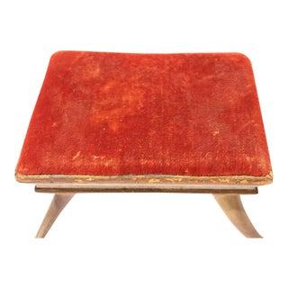Antique Velvet & Horn Footstool