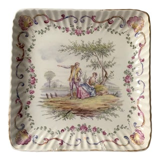 French Faience Hand-Painted Serving Dish For Sale