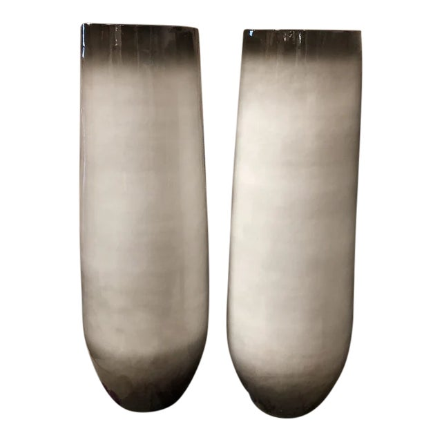 1990s Contemporary Beige Vases - a Pair For Sale