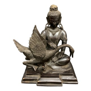 Vintage Late 20th Century Chinese Art Bronze Buddha With Swan Lucky Charm Sculpture For Sale