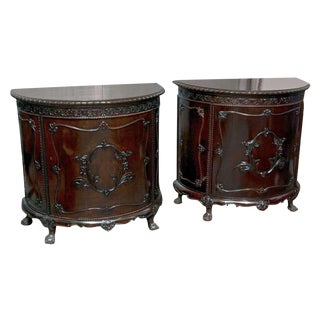 Gerogian Style Demi Lune Commodes - A Pair