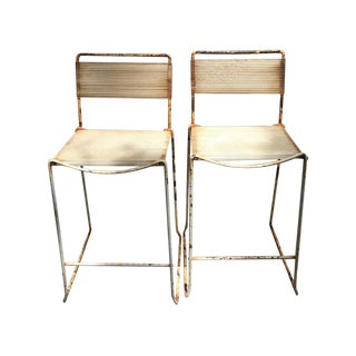 Vintage Industrial Bar Stools - A Pair For Sale