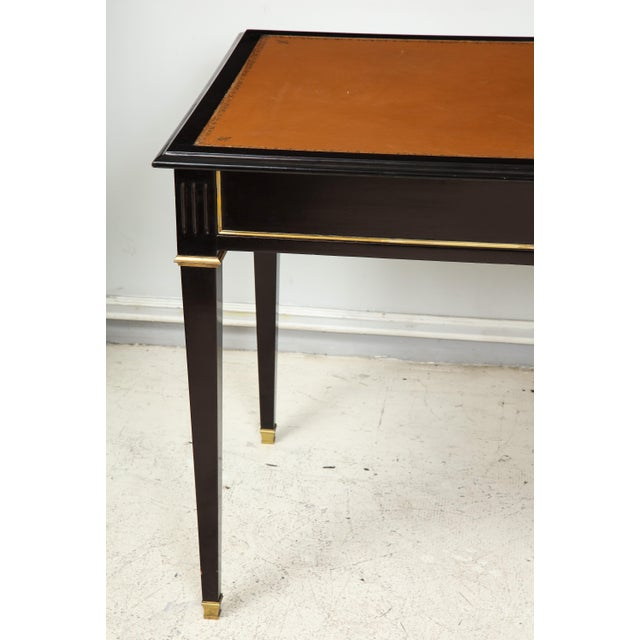 French Ebonized Leather-Top Bronze-Mounted Bureauplat Desk For Sale - Image 3 of 11