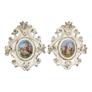 Vintage French Porcelain Medallion Wall Plaques - a Pair