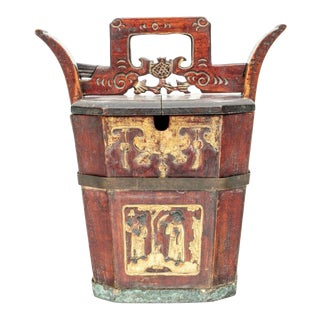 Antique Lacquered Chinese Elm Wood Teapot Container or Caddy For Sale