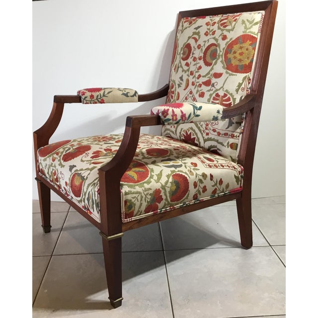 1960s Vintage French Suzani Armchair For Sale - Image 9 of 13