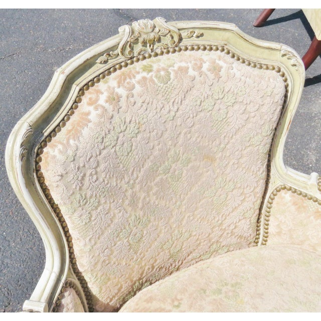 Louis XVI Louis XVI Style Distressed Cream Painted Bergere Chairs - A Pair For Sale - Image 3 of 5
