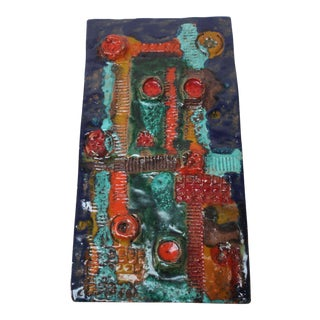 Danish Modern Abstract Terracotta Ceramic Wall Hanging For Sale